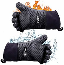 Black Silicone Oven Gloves Double BBQ Heat