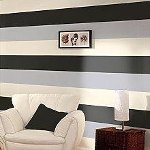 Black / Silver / Cream - 40909 - Olivia Stripe -