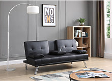 Black Sofa Bed 3 Seater Adjustable 3 Inclining