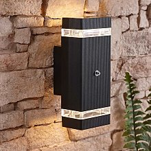 Black Square Modern Outdoor Up Down Wall Light