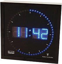 Black Square Wall Clock with Blue LED Radio