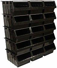 Black Stacking Container Bin Order Picking Storage