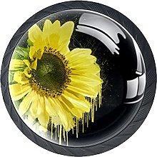 Black Sunflower Black Knobs for Dresser Drawers