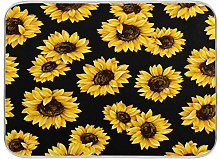 Black Sunflower Summer Floral Dish Drying Mat
