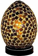 Black Tile Mosaic Glass Vintage Egg Table Lamp