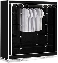 BLACK TRIPLE CANVAS CLOTHES WARDROBE CUPBOARD