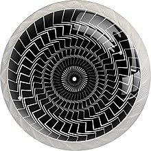 Black Twisted Spiral, 4Pack ABS Dresser Knobs