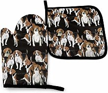 Black White and Tan Beagles Oven Mitt Cooking