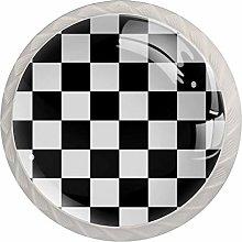 Black White Check Pattern Drawer Knobs Pulls