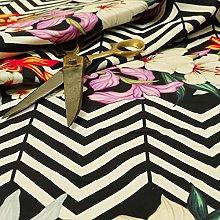 Black White Chevron Colour Floral Print Velour