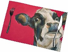 Black White Cow Print Dining Table Placemats, Heat