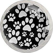 Black White Dog Tile Paw PrintGlass Knobs for