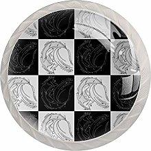 Black White Drawing Girl 4pcs Glass Cupboard