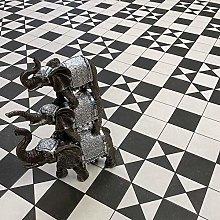Black & White Felt Back Victorian Tile Design