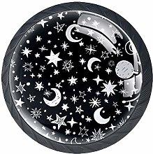 Black White Moon Stars Design Cabinet Door Knobs