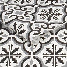 Black & White Moroccan Tile Effect Wallpaper -