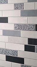 Black White Silver Tile Wallpaper Glitter Brick