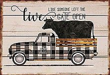 Black White Truck Buffalo Check Cow Pallet Poster