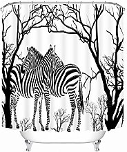 Black White Two Zebras Wild Animals Shower Curtain