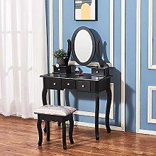 Black Wood Vanity Dressing Table Set Makeup Desk