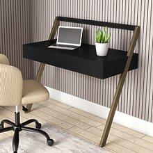 Black Wooden Ladder Desk with Storage Drawer - Nico