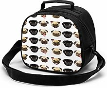 Black Yellow Pug Insulated Lunch Bag Mini Cooler