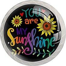 Black You are My Sunshine Kitchen Knob Clear Glass