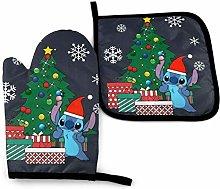 BLACKbiubiubiu Stitch Lilo Christmas Oven Mitts