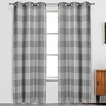 Blackout 365 Buffalo Plaid Curtains, Grey, 37""