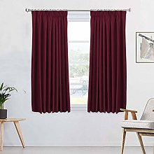 Blackout Burgundy Curtains Pair Thermal Insulated