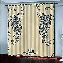 Blackout Curtain Beige Animal Pretty Peacock 3D