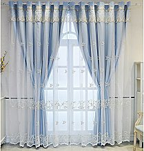 Blackout Curtain for Living Room,Embroidery Sheer