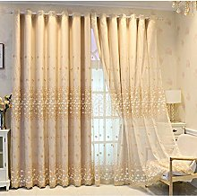 Blackout Curtain for Living Room,Lace Embroidery