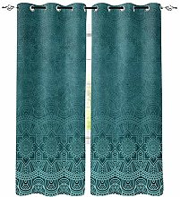 Blackout Curtain Green Thermal Insulated Eyelet