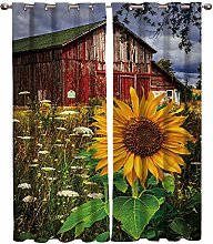 Blackout Curtain Red cottage sunflower 3D printing