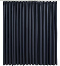 Blackout Curtain with Hooks Anthracite 290x245 cm