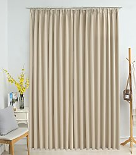 Blackout Curtain with Hooks Beige 290x245 cm -