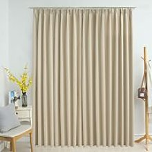 Blackout Curtain with Hooks Beige 290x245 cm