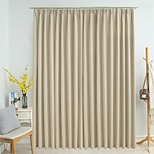 Blackout Curtain with Hooks Beige 290x245 cm