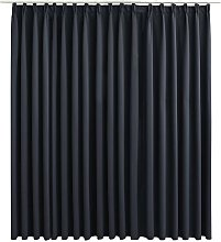 Blackout Curtain with Hooks Black 290x245 cm