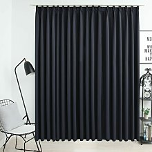 Blackout Curtain with Hooks Black 290x245