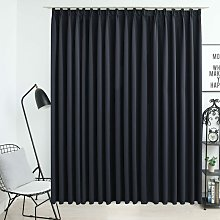 Blackout Curtain with Hooks Black 290x245 cm