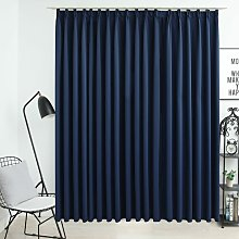 Blackout Curtain with Hooks Blue 290x245