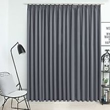 Blackout Curtain with Hooks Grey 290x245 cm
