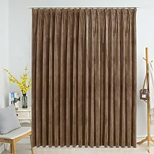 Blackout Curtain with Hooks Velvet Beige 290x245