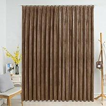 Blackout Curtain with Hooks Velvet Beige 290x245 cm