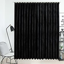 Blackout Curtain with Hooks Velvet Black 290x245
