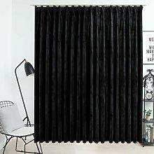 Blackout Curtain with Hooks Velvet Black 290x245