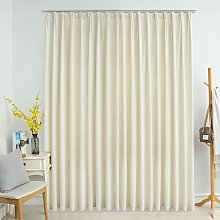 Blackout Curtain with Hooks Velvet Cream 290x245