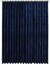 Blackout Curtain with Hooks Velvet Dark Blue